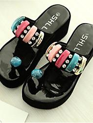 preiswerte -Damen Schuhe PU Sommer Komfort Slippers & Flip-Flops Flacher Absatz Geschlossene Spitze für Draussen Weiß Schwarz