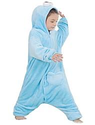 abordables -Pyjamas Kigurumi Animé Combinaison de Pyjamas Costume Flanelle Toison Bleu Cosplay Pour Enfant Pyjamas Animale Dessin animé Halloween