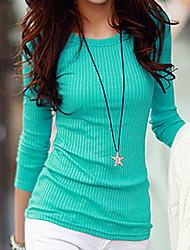 preiswerte -Damen Solide Gestreift Baumwolle T-shirt