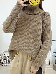 Недорогие -Жен. Сплошной цвет Простой Вязаная ткань Пуловер, Повседневные Длинный рукав Хомут Шерсть Весна