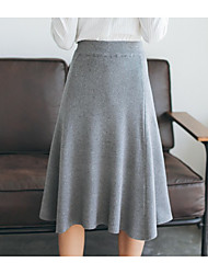 cheap -Women's Casual/Daily Midi Skirts,Simple A Line Cut Out Solid Fall