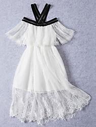 abordables -Robe Fille de Quotidien Sortie Couleur Pleine Fleur Coton Printemps Eté Manches Courtes Mignon Princesse Bohème Blanc