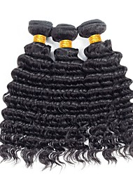 cheap -Brazilian Hair Deep Wave Natural Color Hair Weaves 3 Bundles 8-28inch Human Hair Weaves Natural Black Women's