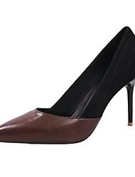 abordables -Femme Chaussures Gomme Printemps Automne Confort Chaussures à Talons Talon Bas Bout pointu pour De plein air Orange Brun claire