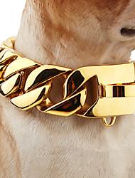 baratos -Cachorro Colarinho Segurança Sólido Aço Inoxidável Dourado
