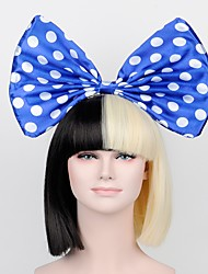 cheap -celebrity with the latest models Qi bangs black gold wig blue bow