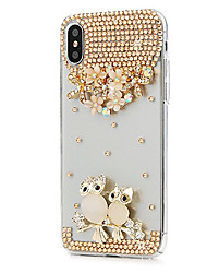 economico -Custodia Per Apple iPhone X iPhone 8 Plus Con diamantini Integrale Fiore decorativo Resistente pelle sintetica per iPhone X iPhone 8 Plus