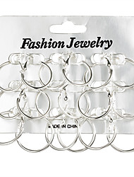 cheap -Women's Oversized Silver Plated 18pcs Hoop Earrings - Oversized / Statement / Rock Silver Circle Earrings For Gift / Evening Party