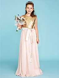 cheap -A-Line Jewel Neck Sweep / Brush Train Chiffon / Sequined Junior Bridesmaid Dress with Sequin / Sash / Ribbon / Pleats by LAN TING BRIDE®