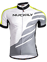 cheap -Nuckily Men's Short Sleeve Cycling Jersey - Green Geometic Bike Jersey, Quick Dry, Anatomic Design, Breathable Polyester / Stretchy / SBS Zipper / Reflective Strips / Sweat-wicking