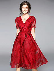 cheap -Women's Going out Vintage / Street chic Puff Sleeve Sheath / Lace / Swing Dress - Patchwork Lace / Bow / Mesh High Waist V Neck