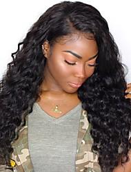preiswerte -Echthaar Spitzenfront Perücke Brasilianisches Haar Lose gewellt Mit Strähnen 250% Dichte Natürlicher Haaransatz Medium Lang Damen