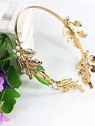 abordables -perla hojas diadema aro accesorios para el cabello de oro modelos de explosión 1 unids