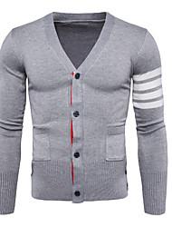 cheap -Men's Long Sleeve Cardigan - Striped V Neck