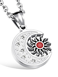 cheap -Men's Star Rhinestone Pendant Necklace - Casual Fashion Moon Star Necklace For Other Daily