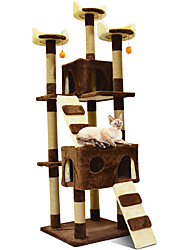 cheap -Cat Houses Wood Scratch Art Pet Liners Solid Fashion Jumping Multi layer Soft Folding Girlfriend Gift Professional Multifunctional Beige