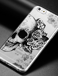 preiswerte -Hülle Für Apple iPhone X iPhone 8 iPhone 6 iPhone 6 Plus IMD Ultra dünn Transparent Muster Rückseite Totenkopf Motiv Weich TPU für iPhone
