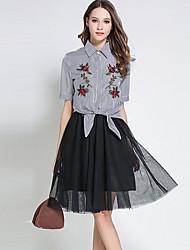 baratos -Mulheres Trabalho Sofisticado Camisa Social Listrado Saia Colarinho de Camisa / Primavera