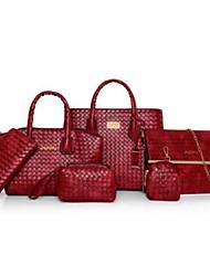cheap -Women's Bags PU Polyester Bag Set 6 Pieces Purse Set Zipper for Casual All Season Brown Beige Red Black Blue