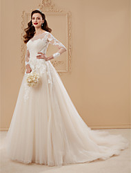cheap -A-Line Princess Illusion Neckline Chapel Train Lace Tulle Wedding Dress with Appliques Draping by LAN TING BRIDE®
