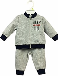 cheap -Baby Boys' Daily Solid Print Clothing Set, Cotton Spring Fall Simple Cute Casual Long Sleeves Light gray