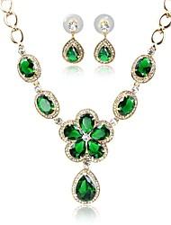 baratos -Mulheres Chapeado Dourado Conjunto de jóias 1 Colar / Brincos - Fashion / Doce Verde Conjunto de Jóias / Sets nupcial Jóias Para