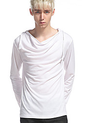 cheap -Men's Daily Casual T-shirt,Solid Hooded Long Sleeve Polyester