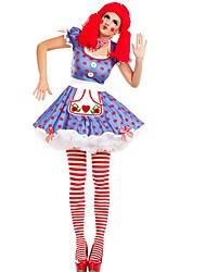 abordables -Burlesques Payaso / Circo Disfrace de Cosplay / Ropa de Fiesta Mujer Carnaval Festival / Celebración Disfraces de Halloween Azul Bloques Divertido y Regio