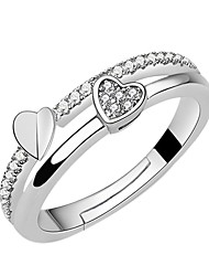 cheap -Women's Cubic Zirconia Alloy Heart Statement Ring - Fashion Silver Ring For Engagement / Daily
