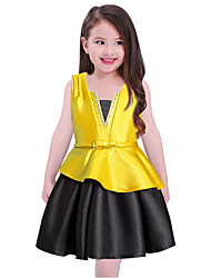 cheap -Girl's Solid Dress,Cotton Polyester Spring, Fall, Winter, Summer Sleeveless Casual Yellow Red Blue