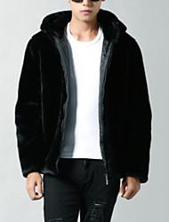 Недорогие -Муж. Длинная Куртка Обычные - Однотонный, Шерсть / Хлопок Крупногабаритные / Длинный рукав
