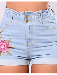 abordables -Mujer Algodón Shorts Pantalones - Un Color Floral