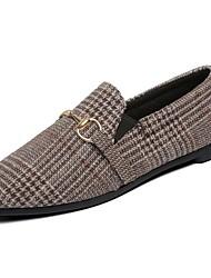 Недорогие -Для женщин Обувь Полиуретан Весна Удобная обувь Мокасины и Свитер На плоской подошве Круглый носок Стразы для Повседневные Черный Хаки