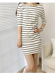 cheap -Women's Daily Casual Sheath Above Knee Dress, Striped Round Neck 3/4 Length Sleeves Fall