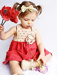 cheap -Baby Girl's Daily Solid Dress, Wool Cotton Bamboo Fiber Spring Simple Vintage Sleeveless Red