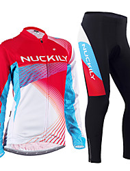 cheap -Nuckily Men's Women's Long Sleeves Cycling Jersey with Tights - Red Floral / Botanical Geometic Bike Clothing Suits, Thermal / Warm,