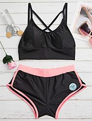 cheap -Women's Color Block Color Block Cross Straped Tankini Swimwear White Black