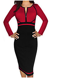 cheap -Women's Daily Vintage Sheath Midi Dress,Solid Round Neck Long Sleeves Spring