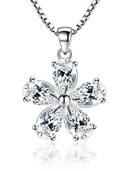 cheap -Women's Flower Cubic Zirconia Pendant Necklace  -  Fashion Sweet Silver Necklace For Party Daily