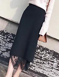 preiswerte -Damen Einfach Alltag Midi Röcke Bodycon, Wolle Baumwolle Solide Frühling Herbst