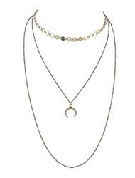 economico -Per donna A strati Collane Layered - MOON Semplice, Multistrato Oro, Argento Collana Gioielli 2 Per Quotidiano, Appuntamento