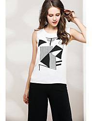 cheap -Women's Going out Cute Street chic Sleeveless Pullover - Solid Colored Geometric