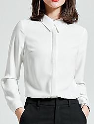 Недорогие -Для женщин Повседневные Осень Рубашка Рубашечный воротник,На каждый день Однотонный Длинные рукава,Полиэстер