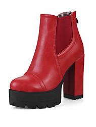 Недорогие -Жен. Обувь Полиуретан Зима Осень Удобная обувь Оригинальная обувь Армейские ботинки Ботинки На толстом каблуке Заостренный носок Ботинки