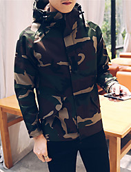 cheap -Men's Casual/Daily Simple Winter Jacket,Camouflage Hooded Long Sleeve Regular Polyester Patchwork