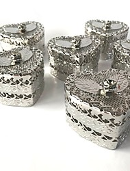 cheap -Heart Shape Iron(nickel plated) Favor Holder with Floral Rosette Household Sundries-1 Set