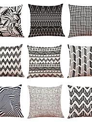 cheap -9 pcs Linen Pillow Cover, Geometric Art Deco Plaid/Check