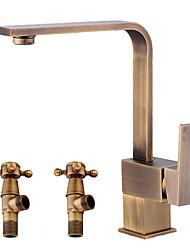 Недорогие -Античный По центру Широко распространенный Керамический клапан Одной ручкой одно отверстие Античная медь , Ванная раковина кран