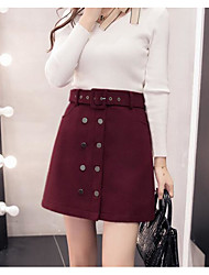 cheap -Women's Holiday Going out Above Knee Skirts,Casual A Line Cotton Solid Winter Spring/Fall
