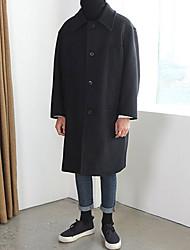 Jednobarevné Denní Jdeme ven Na běžné nošení Kabát-Zima Polyester Košilový límec Dlouhé rukávy Dlouhé
